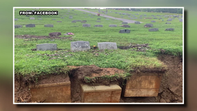 Flooding and erosion leads to exposed vaults and caskets at cemetery