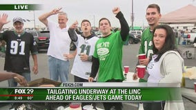 Tailgating underway at the Linc ahead of Eagles-Jets game