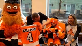Boy battling cancer meets Gritty for his 4th birthday