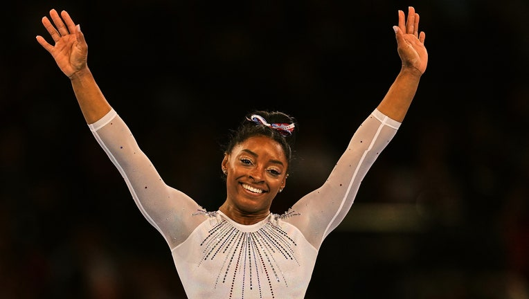 Simone Biles of United States of America during floor exercise for women at the 49th FIG Artistic Gymnastics World Championships in Hanns Martin Schleyer Halle in Stuttgart, Germany on October 10, 2019. (Photo by Ulrik Pedersen/NurPhoto via Getty Images)
