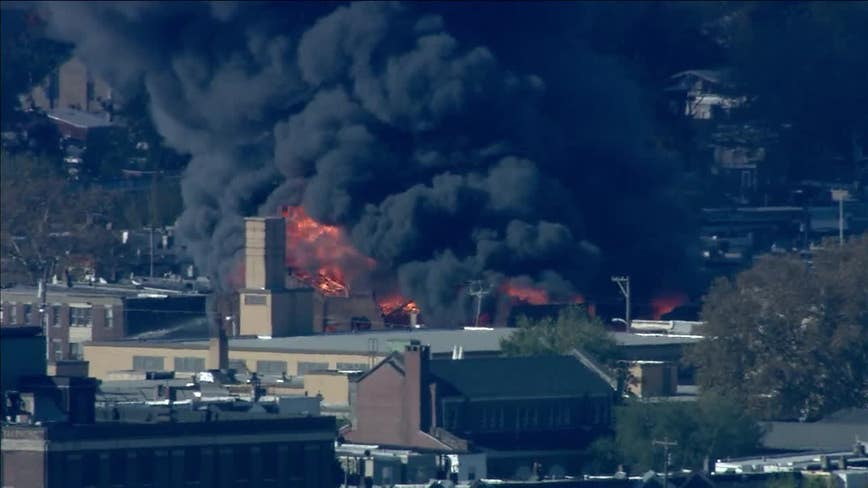 Crews Respond To Large Fire At West Philly Auto Body Shop