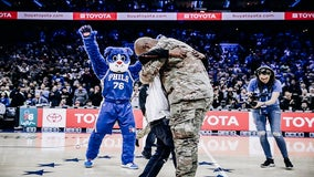 Watch: Military dad surprises son at 76ers game