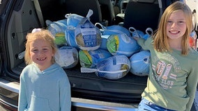 Sisters, 9 and 6, raise over $4,500 for 195 Thanksgiving meals with turkeys for those in need