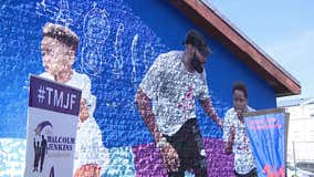 Eagles' Malcolm Jenkins unveils new mural at West Philadelphia playground