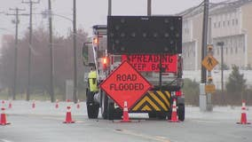 Coastal flooding closes roads in Atlantic County