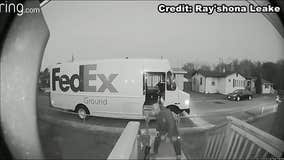 WATCH: Doorbell camera captures FedEx driver working out with delivery