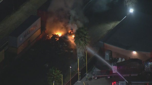 Fire ignites after Metrolink train strikes motorhome on its tracks in Santa Fe Springs