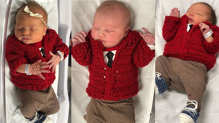 Hospital Dresses Up Newest Neighbors In Tiny Red Mister Rogers Cardigans For World Kindness Day