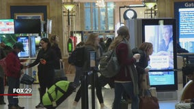 Hurry up and wait at 30th St. Station as people travel home after the holiday