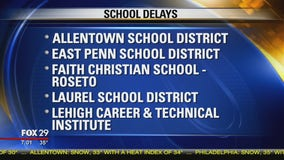School closings announced as a result of snow showers