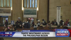 Rail travel only hampered by traffic attempting to arrive at 30th St Station