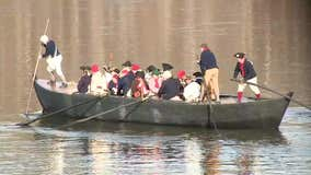 Thousands drawn to annual reenactment of Washington crossing Delaware River