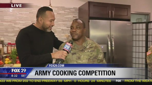 Army battles in a kitchen competition at Reading Terminal Market before Army-Navy game