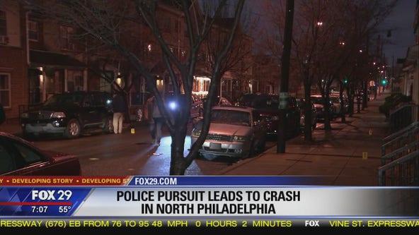 Police pursuit leads to crash of stolen van in North Philadelphia