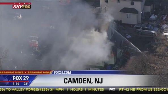 Firefighters battle blaze at home in Camden