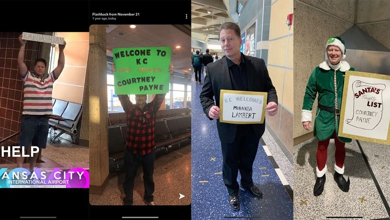 Courtney Payne's father brings a new sign