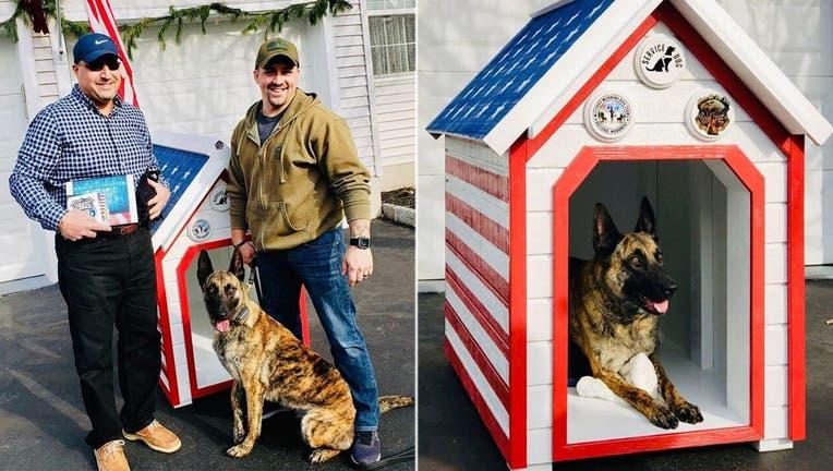 Lou DiBella built a patriotic doghouse for Hackettstown Police Department K-9 Jada and her partner, Ptl. Christopher Laver, an Iraq War vet.