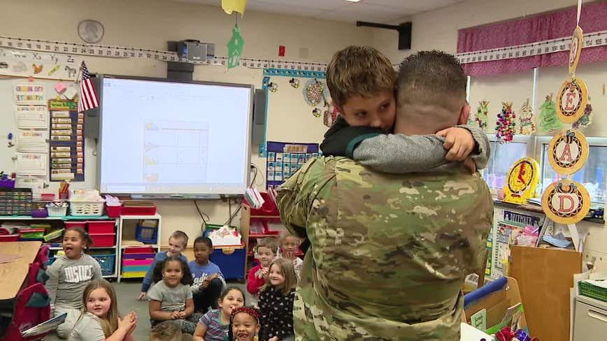 Military dad surprises son at school in heartwarming reunion