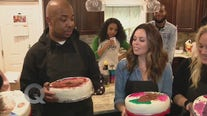 Quincy and Meredith try out cake painting with Caking & Cocktails