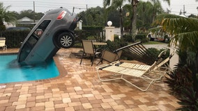 FHP: Woman escapes unharmed as her car plunges into a pool