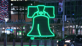Citizens Bank Park, Lincoln Financial Field light the night Eagles green