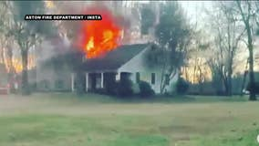 Fire tears through Delaware County home