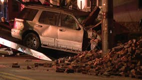 1 hurt after car slams into building in Collingdale