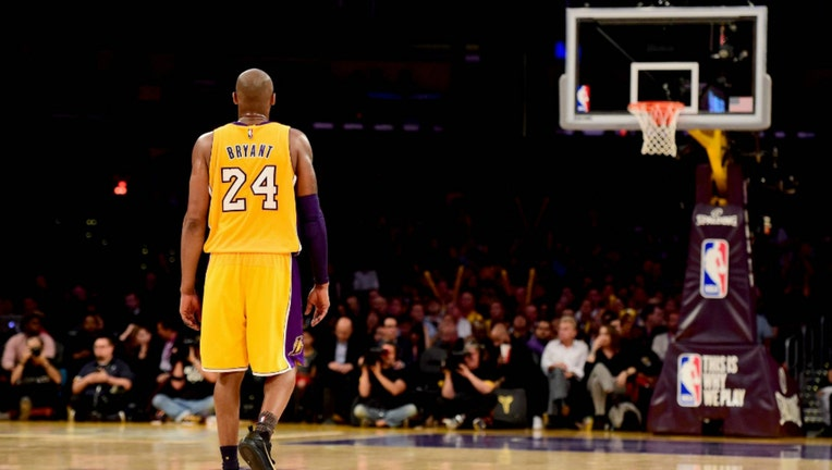 Kobe Bryant #24 of the Los Angeles Lakers reacts while taking on the Utah Jazz at Staples Center on April 13, 2016 in Los Angeles, California. (Photo by Harry How/Getty Images)