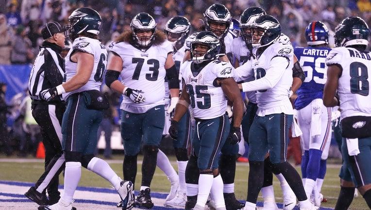 Philadelphia Eagles running back Boston Scott celebrates after scoring against the New York Giants.