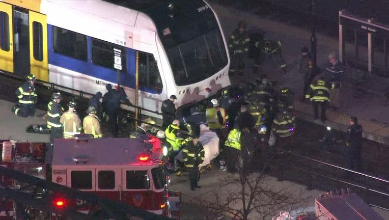 A woman was struck by a New Jersey Transit train in Pennsauken early Tuesday morning.