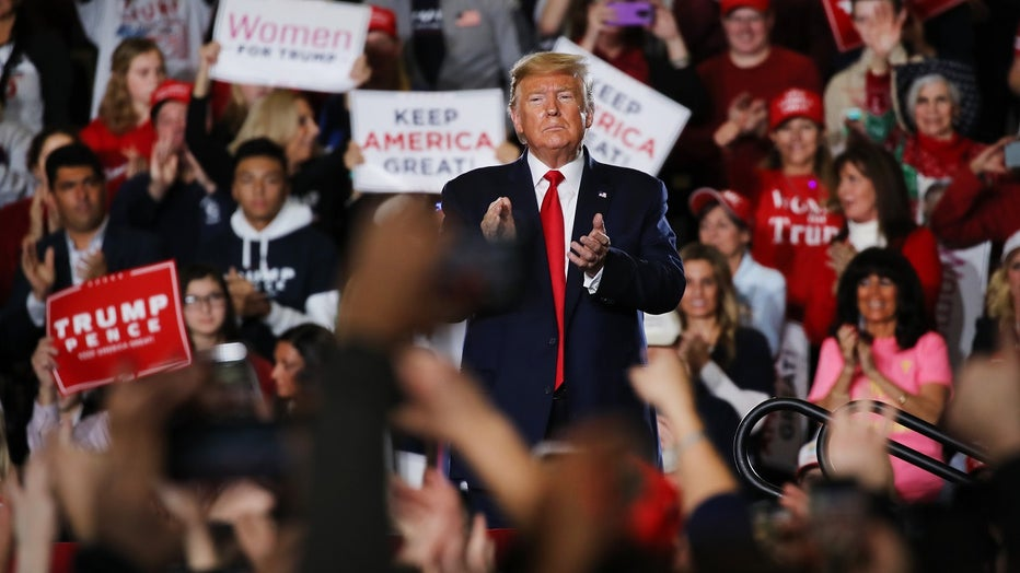 """President Trump speaks at a """"Keep America Great Rally"""" at the Wildwood Convention Center."""