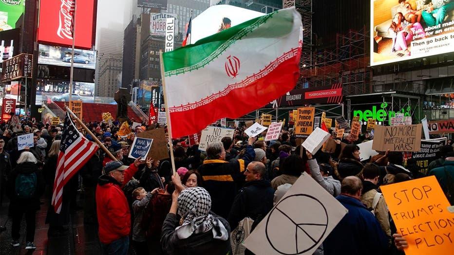 Anti-war protest in Times Square