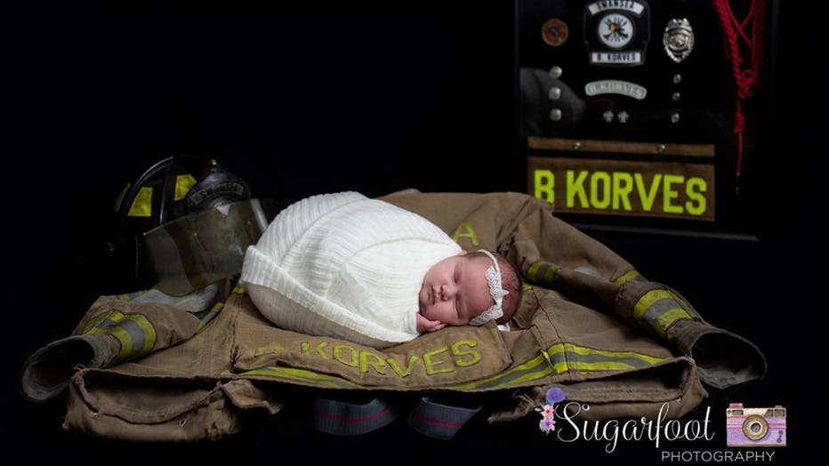 The family of a late firefighter in Illinois is honoring his memory with a new photoshoot featuring his newborn baby girl.