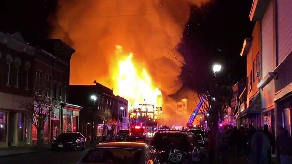 Massive fire in Bound Brook, NJ