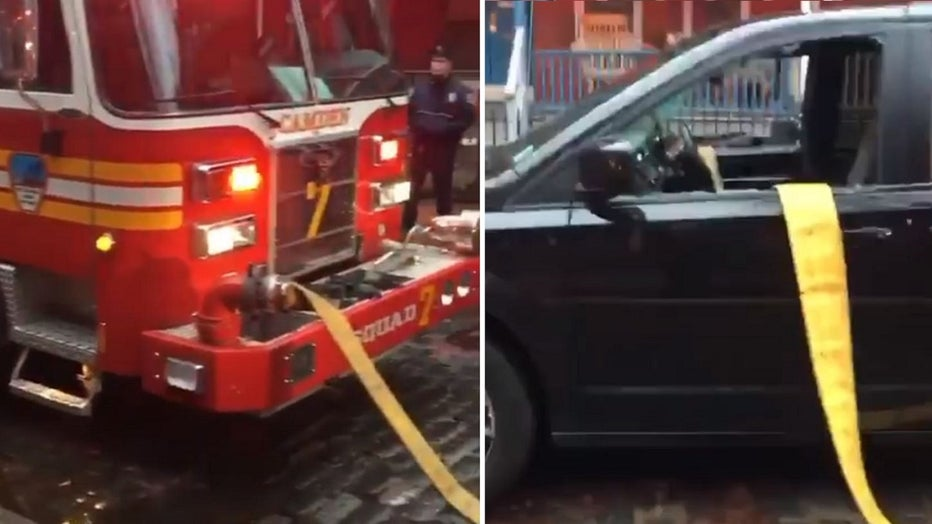 New Jersey fire fighters took no prisoners Saturday, smashing their way through the windows of an SUV parked in front of a hydrant in order to tackle a house fire.