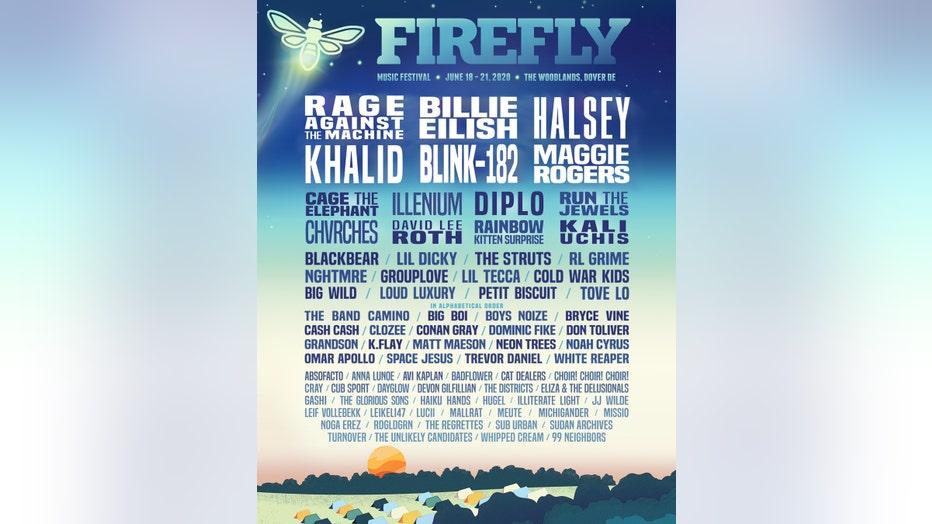 Firefly Music Festival's 2020 lineup