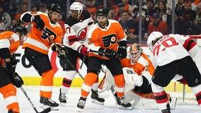 Blackwood, Devils blank Flyers 5-0; Wood scores twice