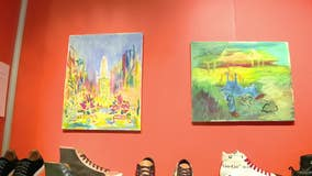 Blue Soles Shoes auctioning artwork for Philadelphia School District art program