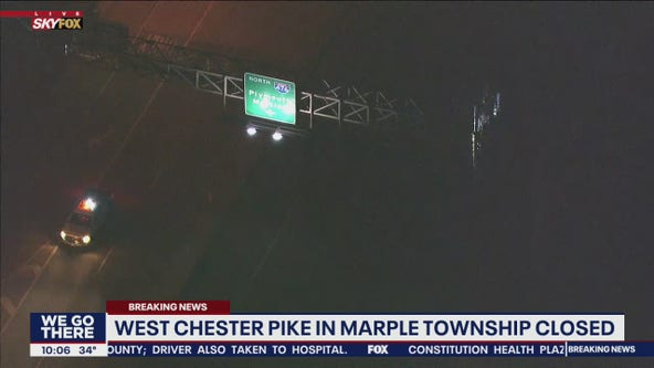 West Chester Pike in Marple Township closed due to cell phone tower fire