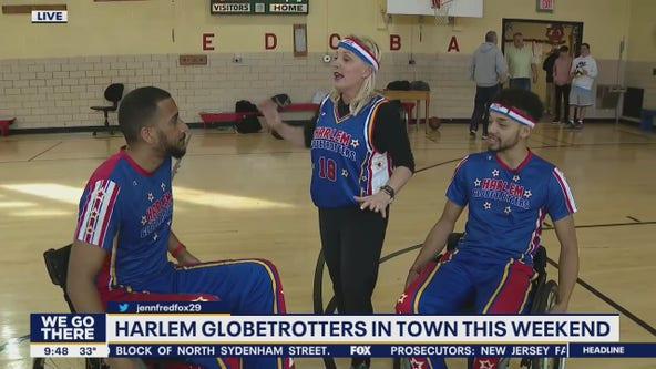 Harlem Globetrotters play wheelchair basketball at Widener Memorial School