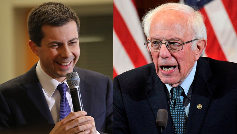 Former South Bend, Indiana Mayor Pete Buttigieg speaks to supporters on Feb. 4, 2020 in Laconia, New Hampshire, alongside Sen. Bernie Sanders giving his response to President Donald Trump's State of the Union speech to a room of supporters at the Currier Museum of Art Auditorium in Manchester, New Hampshire on Feb. 4, 2020. (Photos by Spencer Platt & JOSEPH PREZIOSO/AFP via Getty Images)