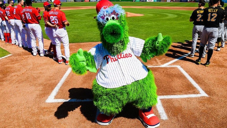 The Phillie Phanatic debuted a new look during spring training on Sunday.