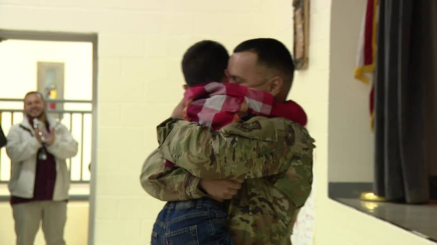 New Jersey airman surprises son after returning from deployment in Kuwait