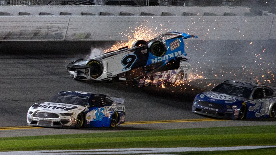 Ryan Newman collides with Corey LaJoie during the Daytona 500 on February 17, 2020. (Photo by David Rosenblum/Icon Sportswire via Getty Images)