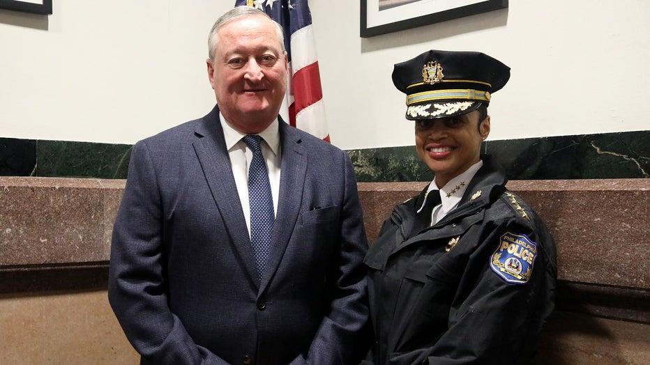 Philadelphia Mayor Jim Kenney and Philadelphia Police Commissioner Danielle Outlaw