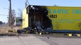 Drag racing vehicle loses control, crashes into building critically injuring 3