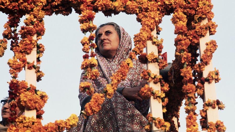 Indira Gandhi Behind Floral Garlands