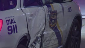 Officer injured, 2 unharmed after pickup truck collides with police cruiser in Tioga