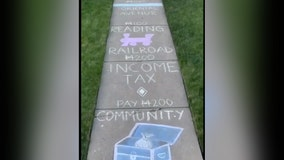 Family makes sidewalk chalk Monopoly game during COVID-19 lockdown