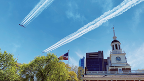 Thunderbirds, Blue Angels perform flyover in honor of frontline workers above Philadelphia, Trenton